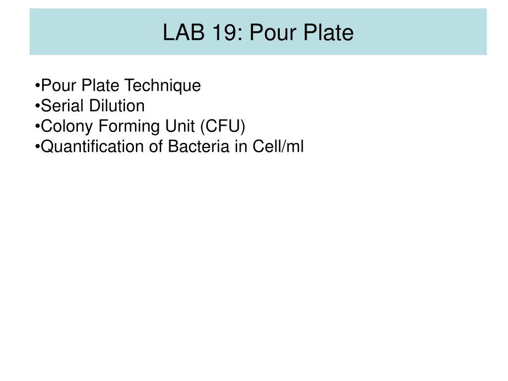 LAB 19: Pour Plate