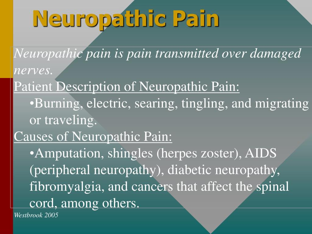 Neuropathic pain is pain transmitted over damaged nerves.