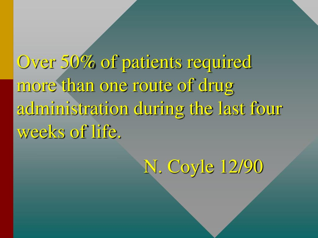 Over 50% of patients required more than one route of drug administration during the last four weeks of life.