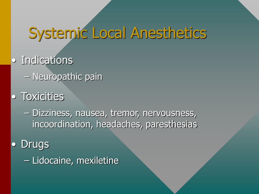 Systemic Local Anesthetics