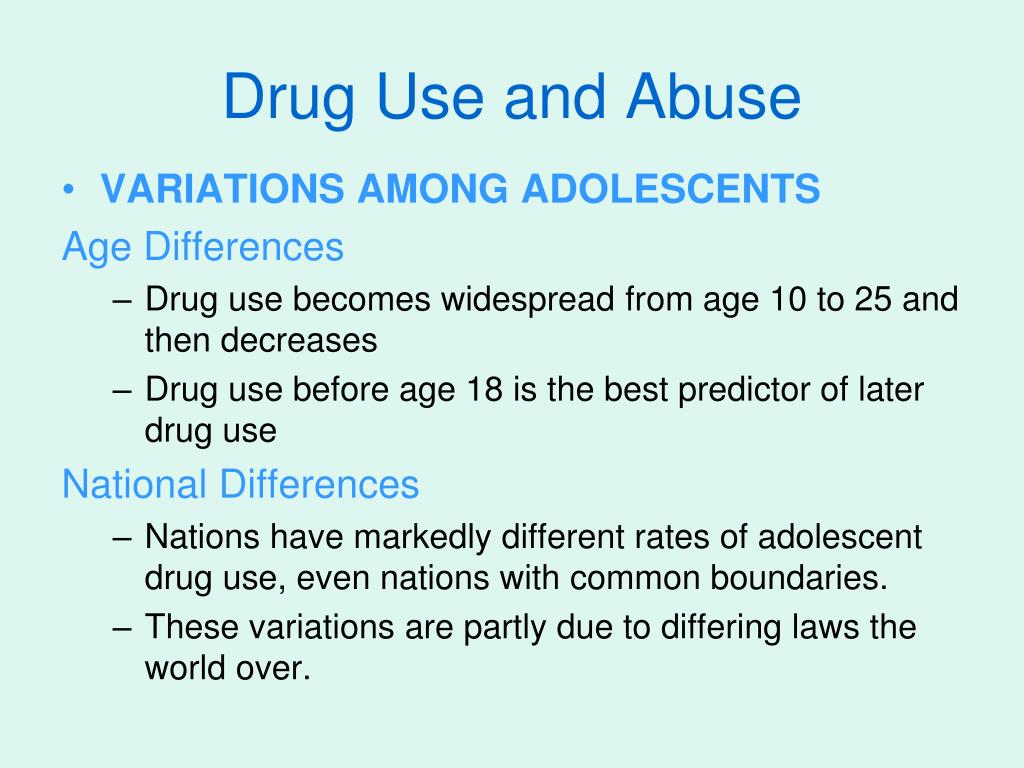 drug use and abuse Many teens experiment with drugs and alcohol, but few realize the risks teens who abuse drugs are more likely to become addicted later in life.