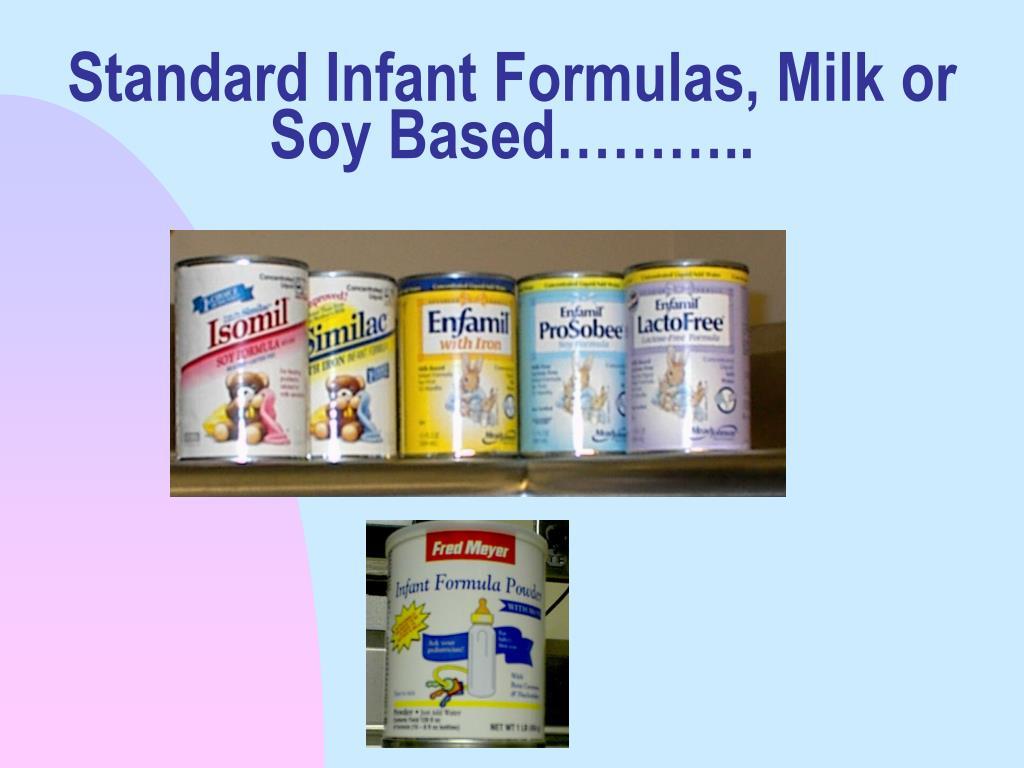 Standard Infant Formulas, Milk or Soy Based………..