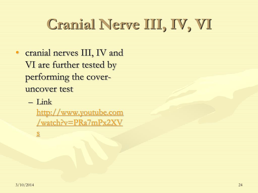 cranial nerves III, IV and VI are further tested by performing the cover- uncover test