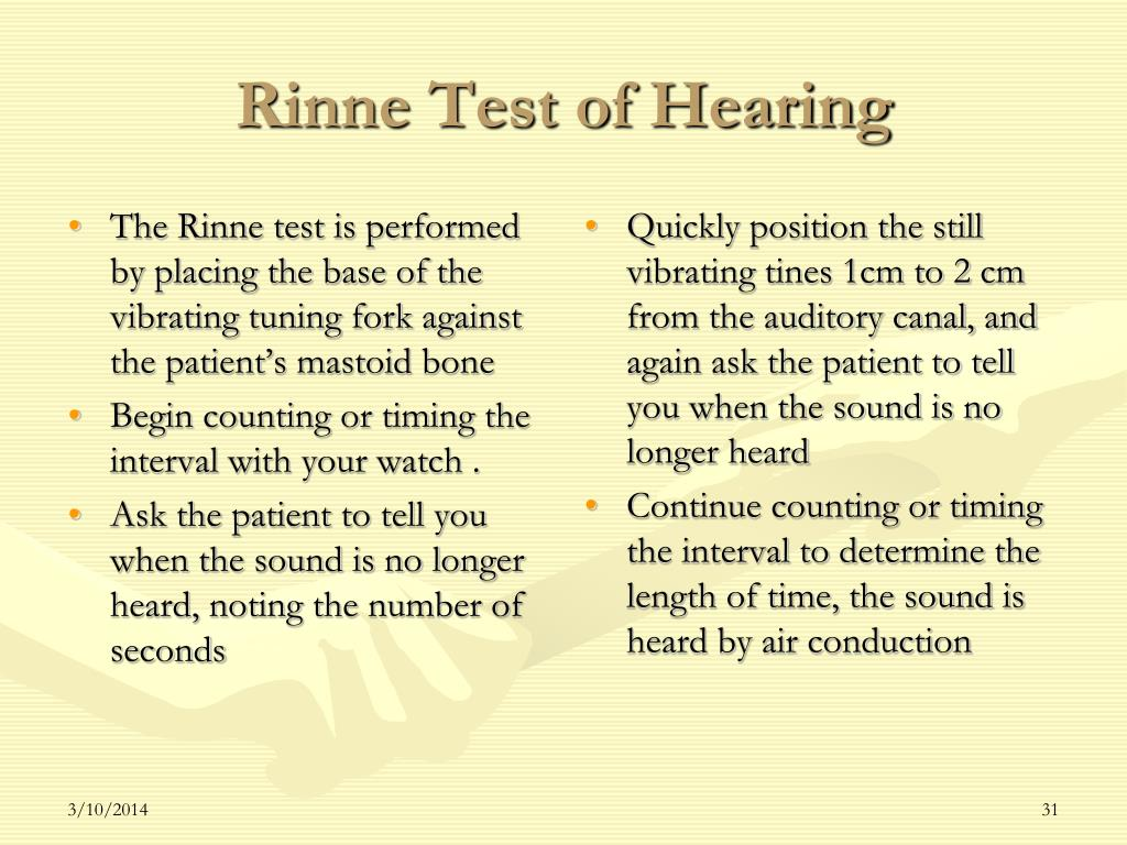 The Rinne test is performed by placing the base of the vibrating tuning fork against the patient's mastoid bone