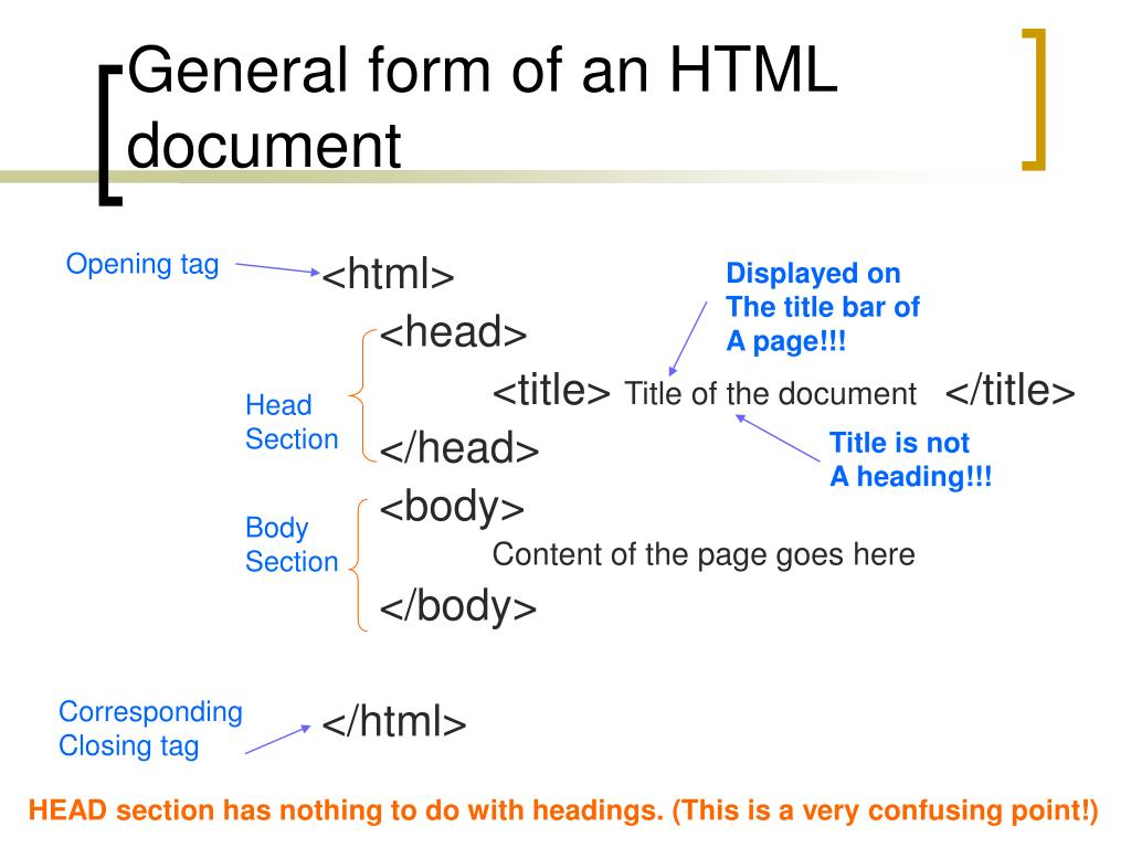 General form of an HTML document