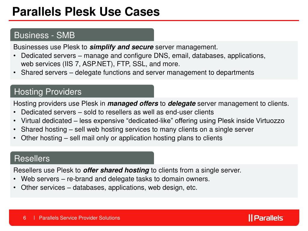 Parallels Plesk Use Cases