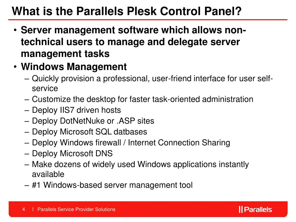 What is the Parallels Plesk Control Panel?