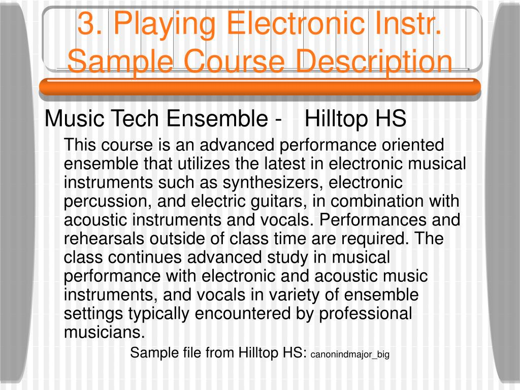 3. Playing Electronic Instr. Sample Course Description