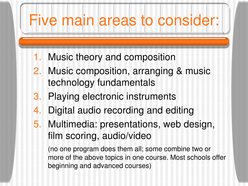 Five main areas to consider:
