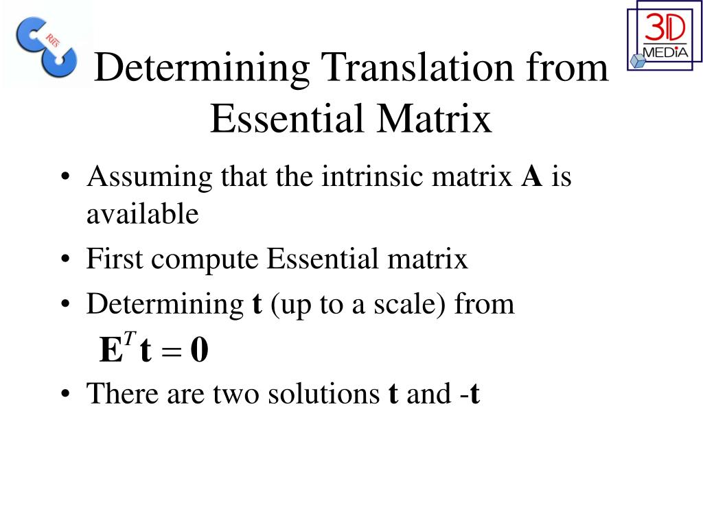 Determining Translation from Essential Matrix