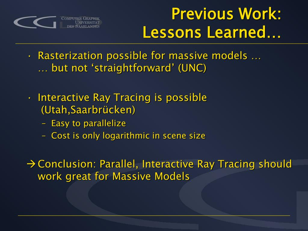 Previous Work: Lessons Learned…
