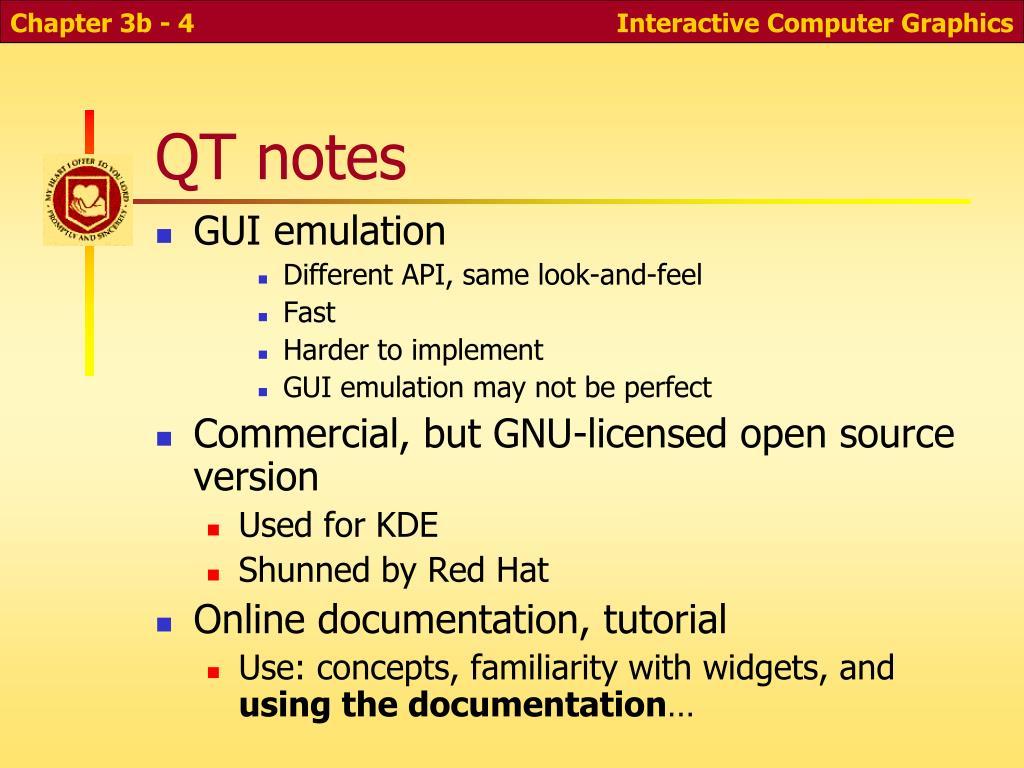 QT notes