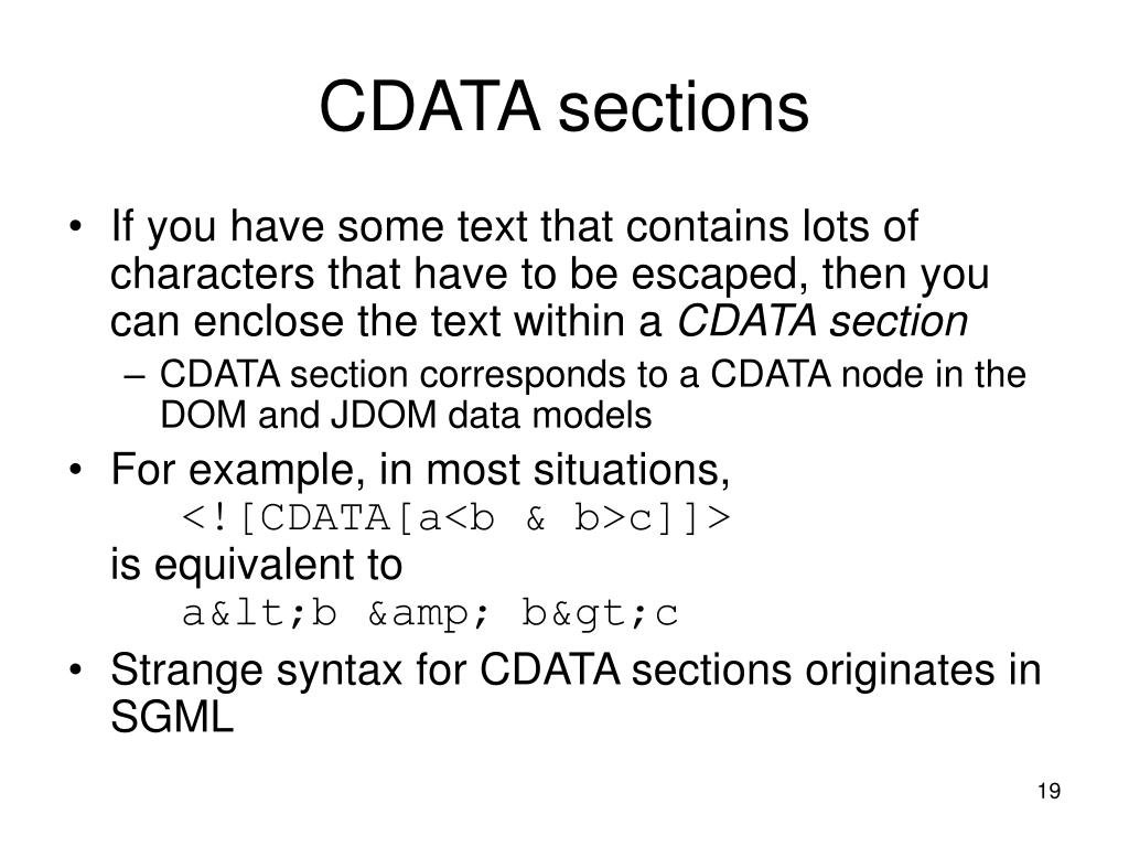CDATA sections