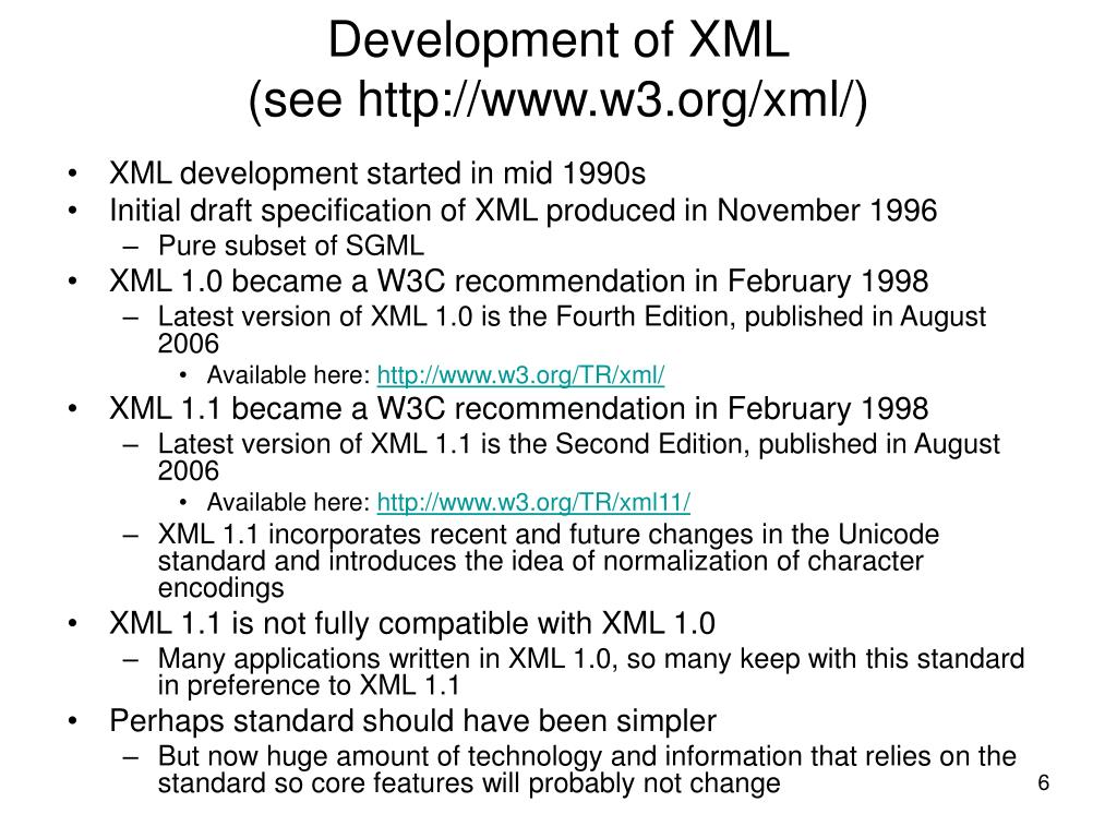Development of XML