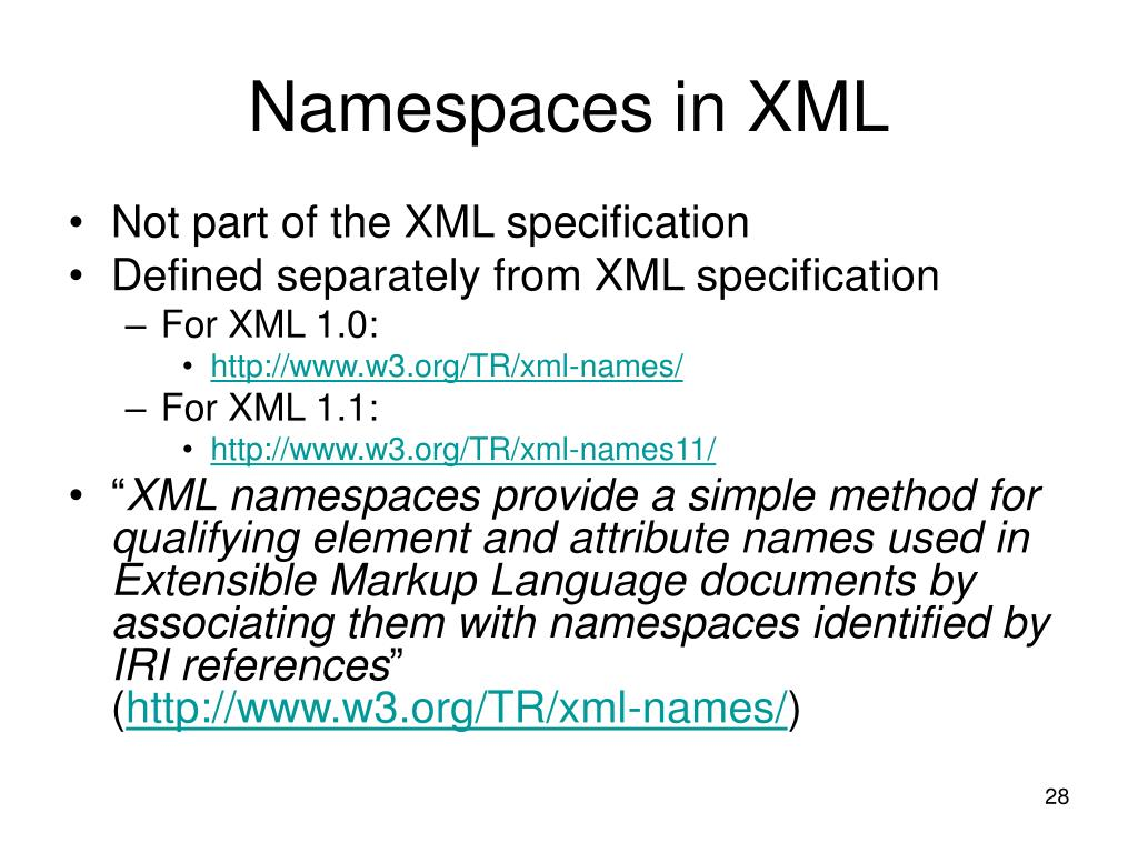 Namespaces in XML