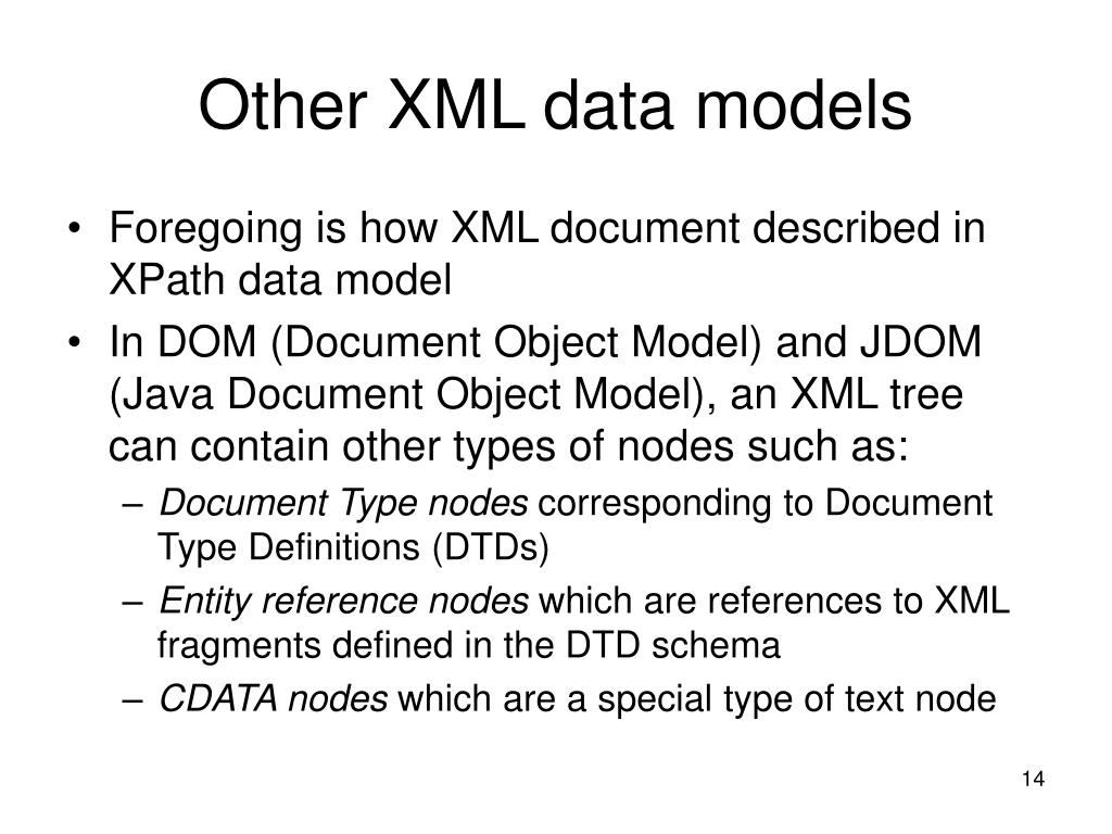 Other XML data models