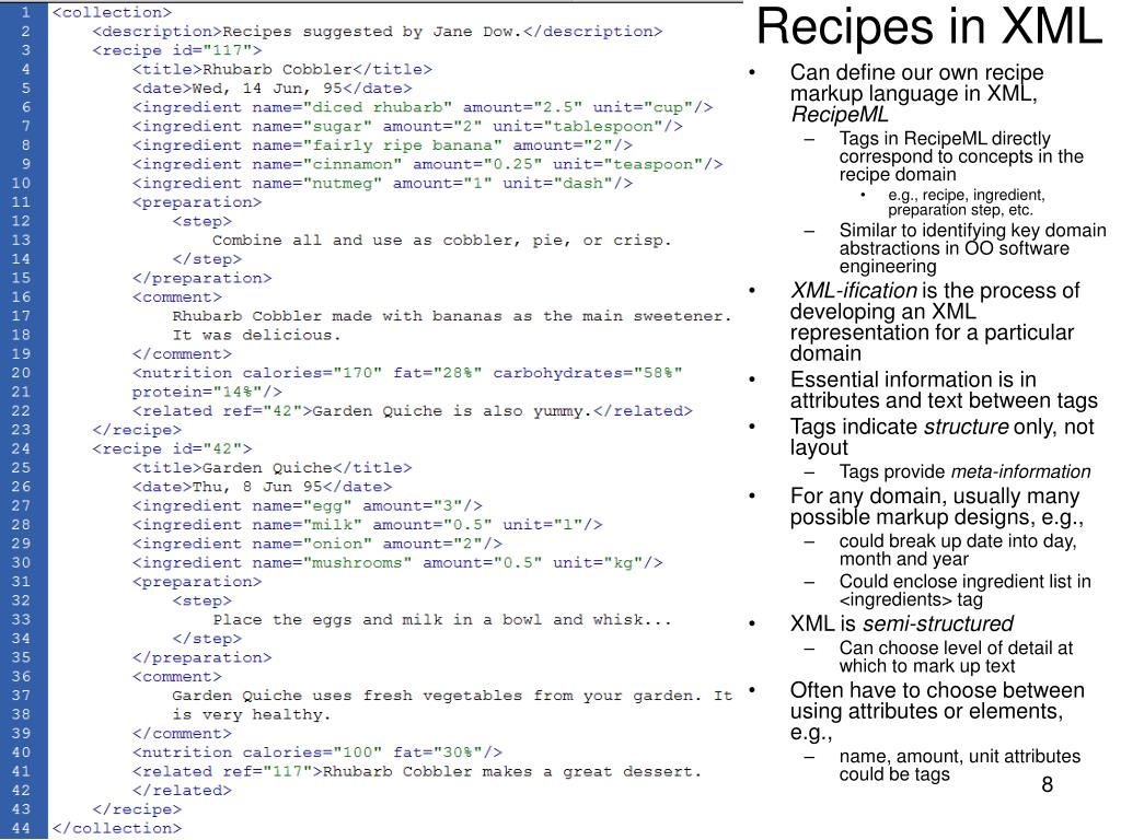 Recipes in XML