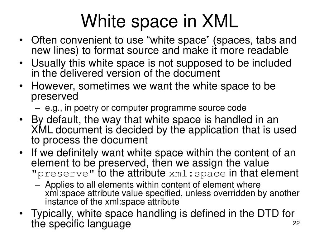 White space in XML