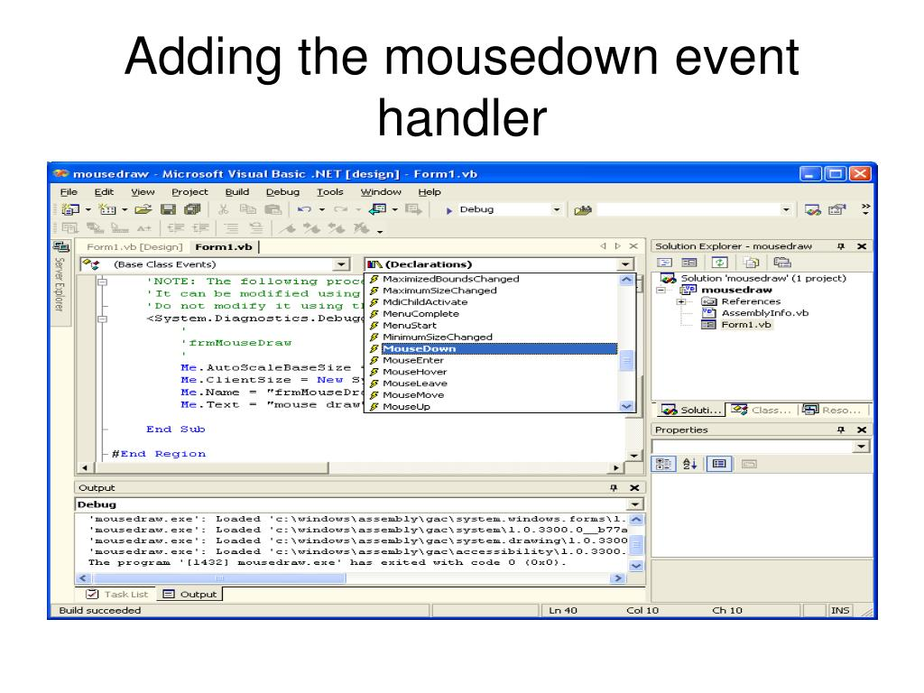 Adding the mousedown event handler