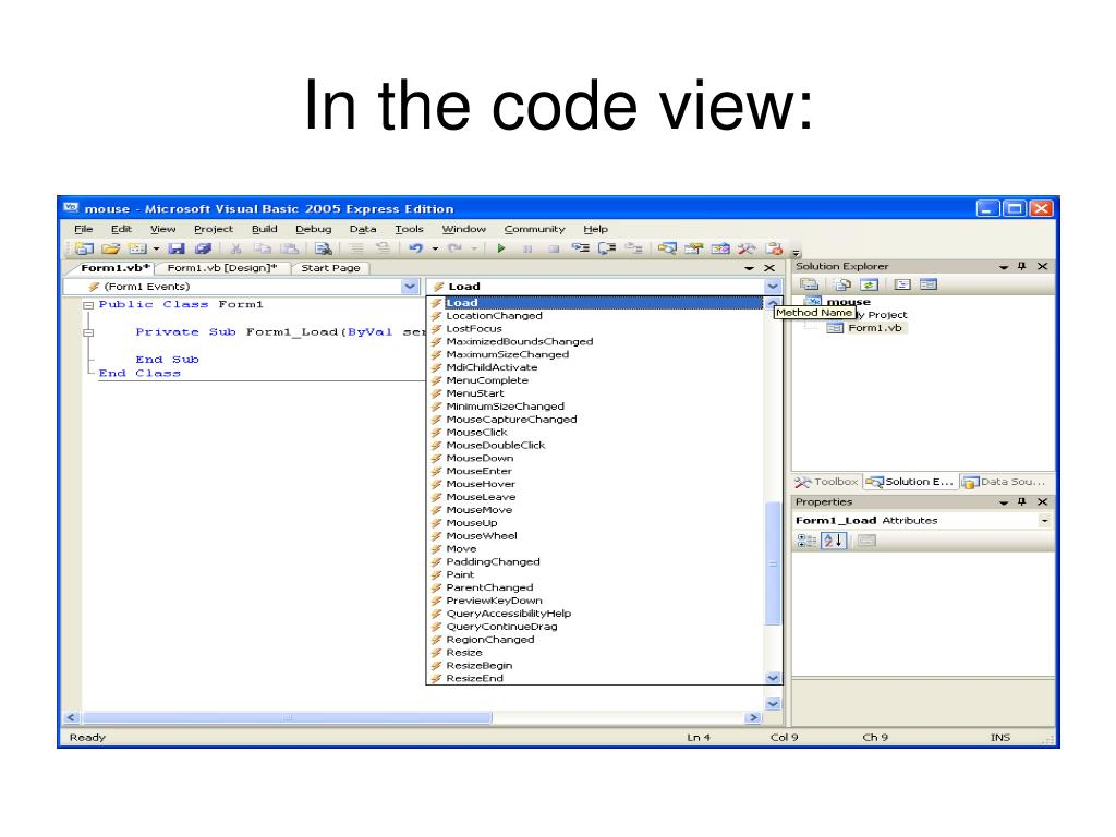 In the code view: