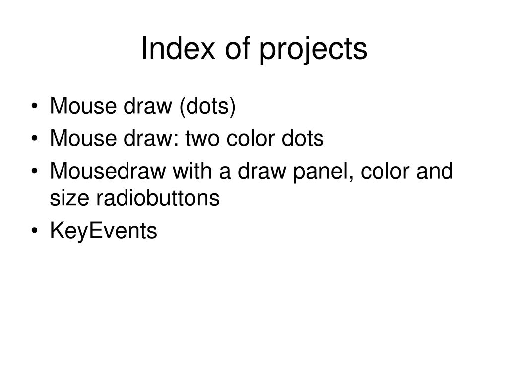 Index of projects