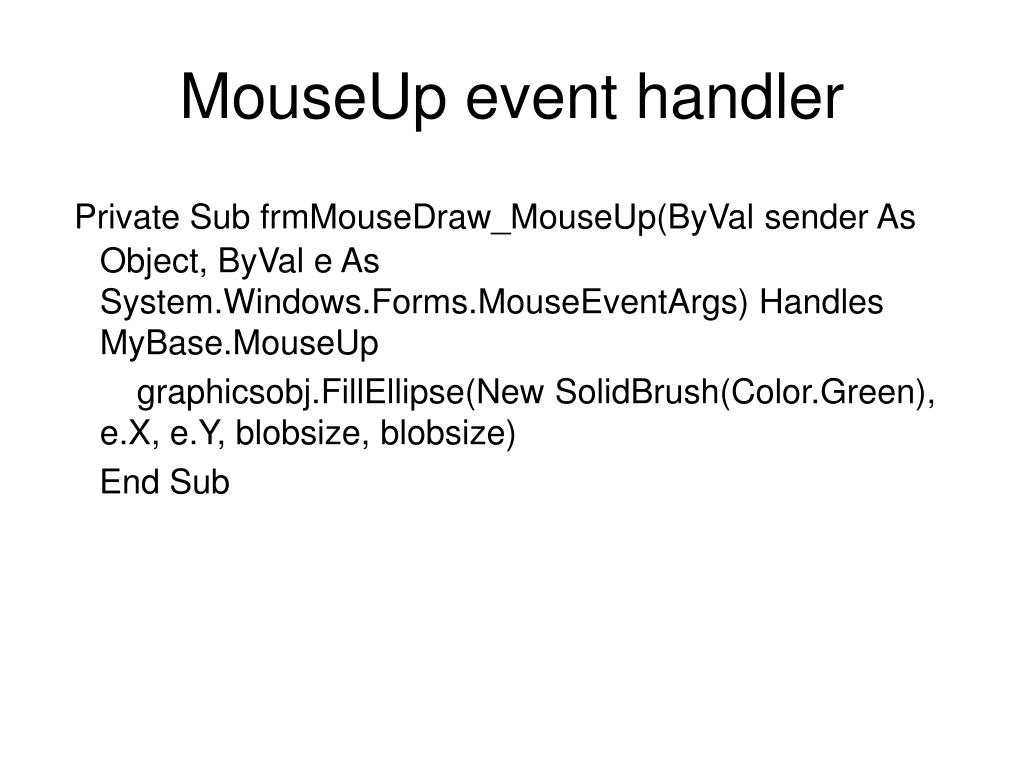 MouseUp event handler
