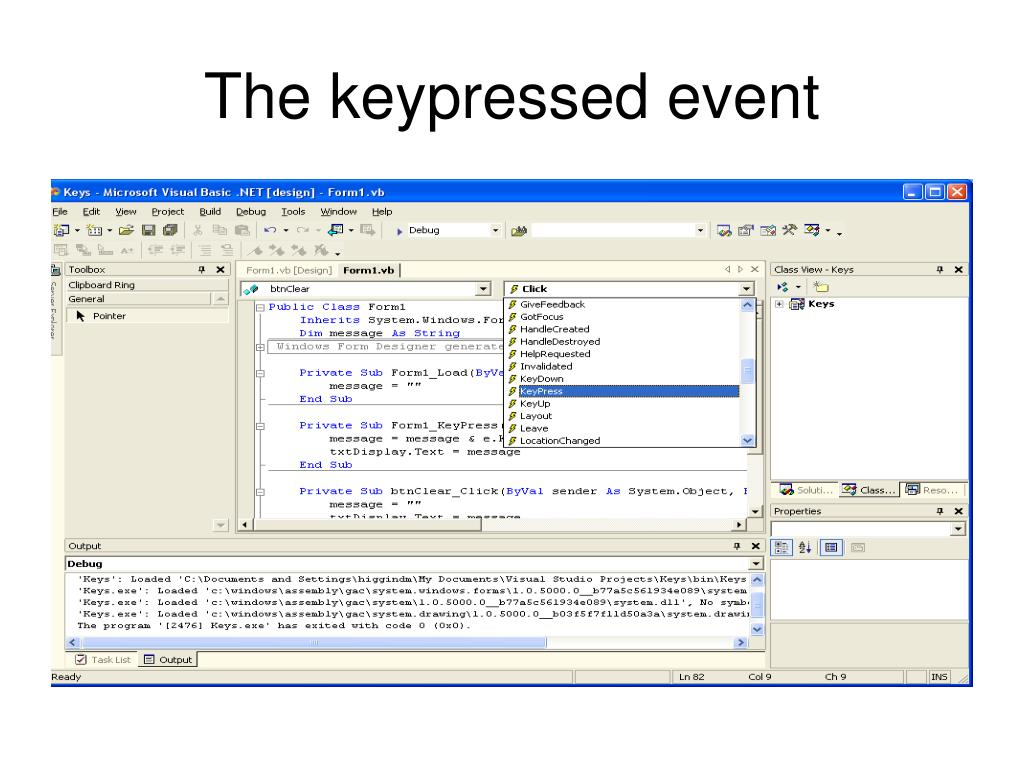 The keypressed event