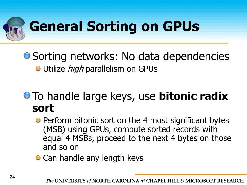 General Sorting on GPUs
