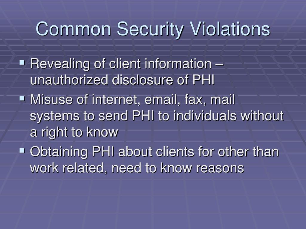 Common Security Violations