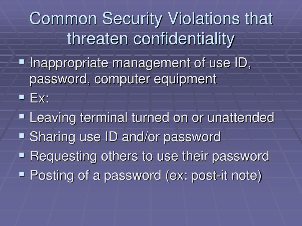 Common Security Violations that threaten confidentiality