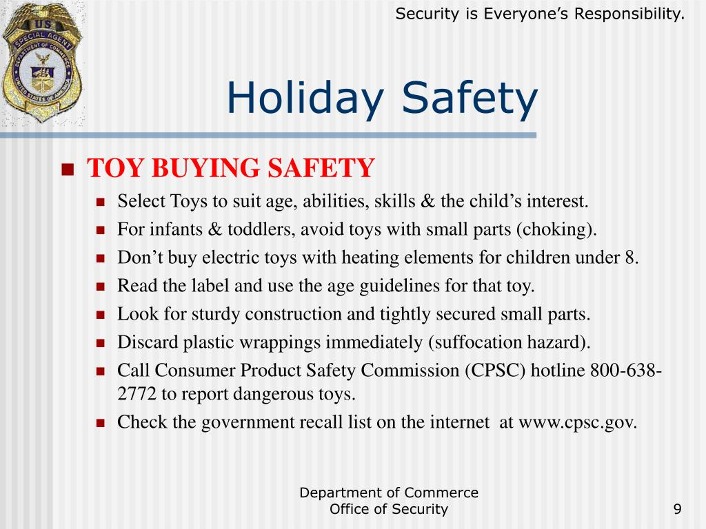 PPT - Holiday Safety Briefing PowerPoint Presentation