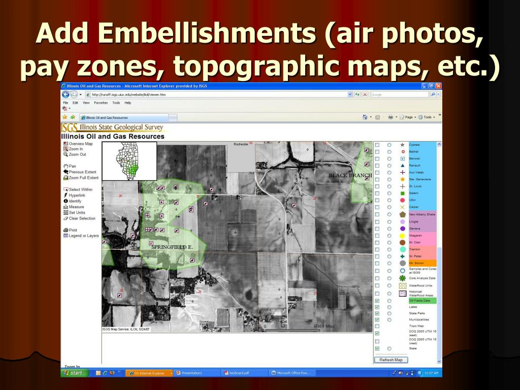 Add Embellishments (air photos, pay zones, topographic maps, etc.)