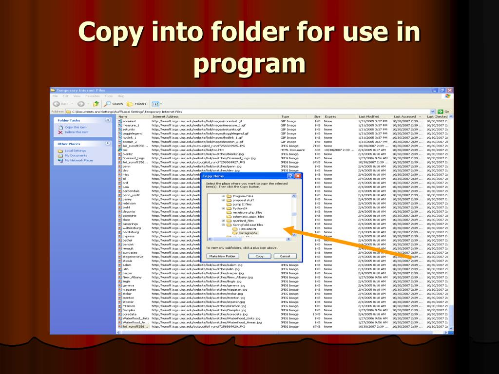 Copy into folder for use in program