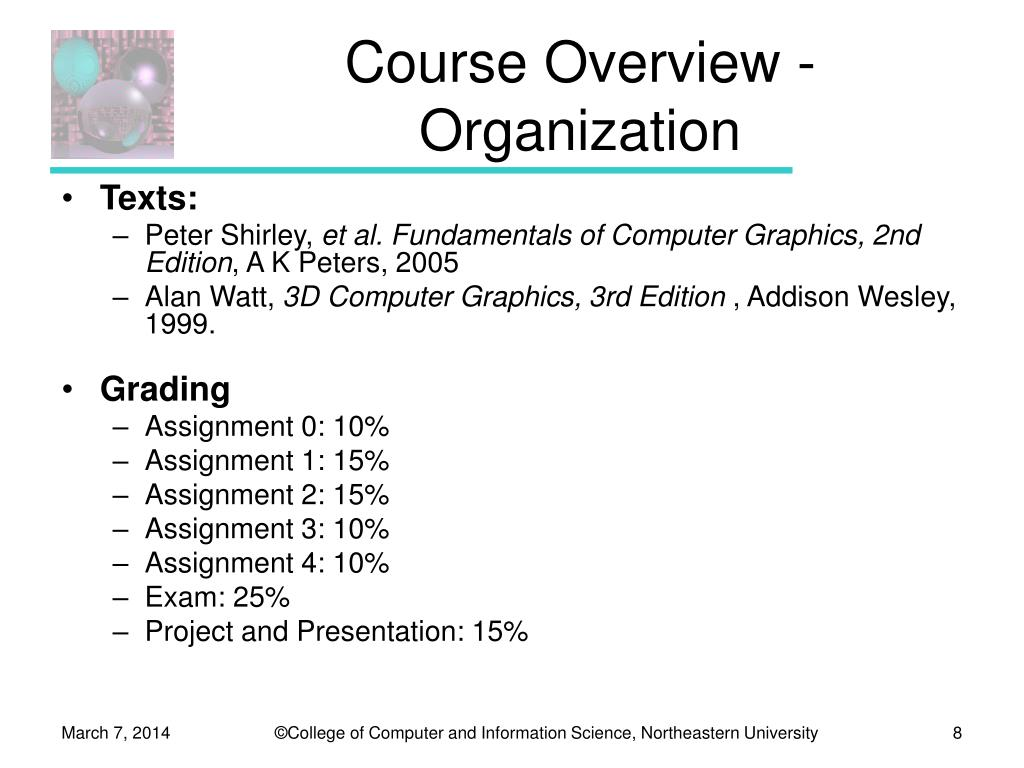 Course Overview - Organization