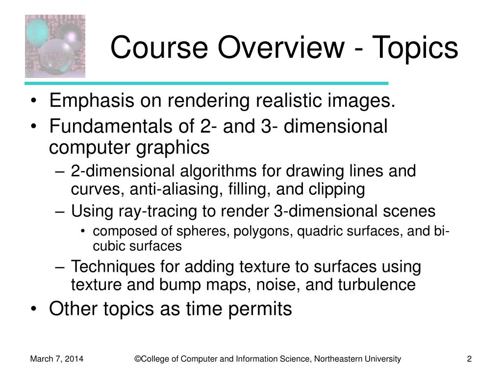Course Overview - Topics