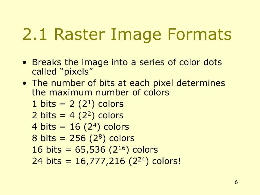 2.1 Raster Image Formats