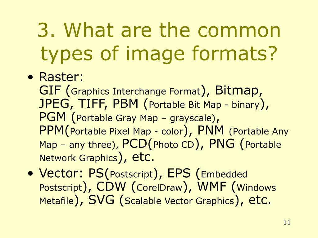 3. What are the common types of image formats?