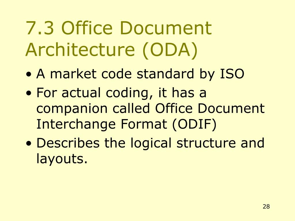 7.3 Office Document Architecture (ODA)