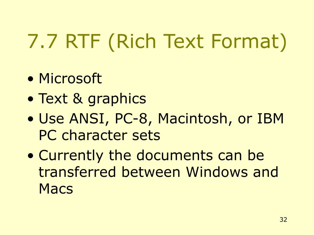 7.7 RTF (Rich Text Format)
