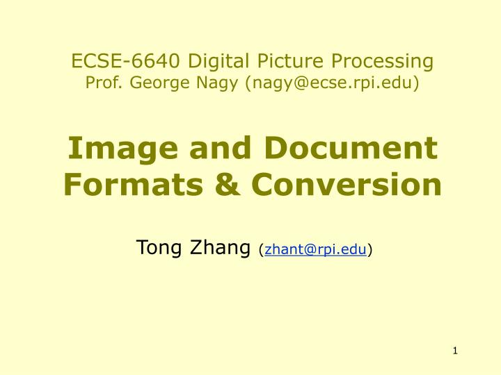 ECSE-6640 Digital Picture Processing