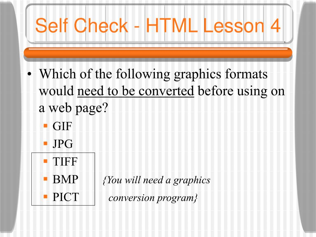 Self Check - HTML Lesson 4