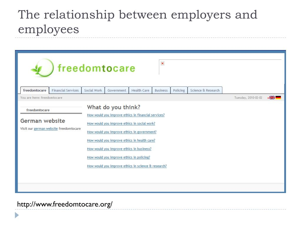 is there a relationship between employees The relationship between employee and employer is sometimes fragile meetings and regular communications between employees and managers are also important, especially if workers feel disconnected from the management of the company references (3.