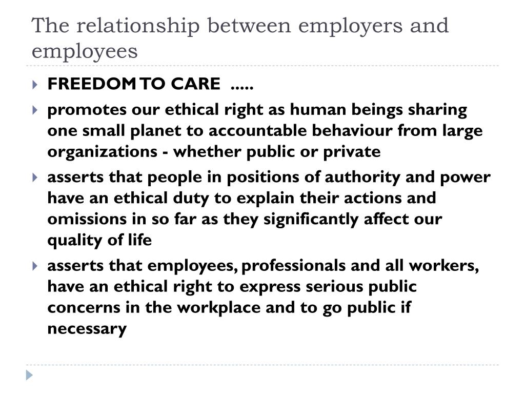 employers and employees relationship policy