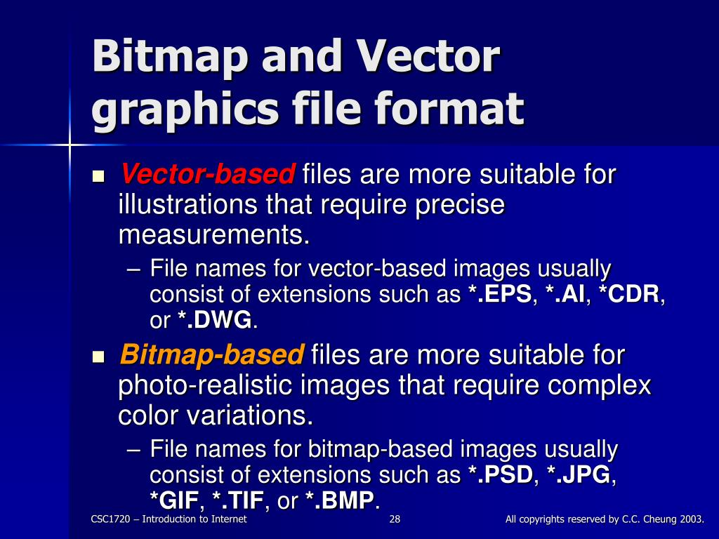 Bitmap and Vector graphics file format