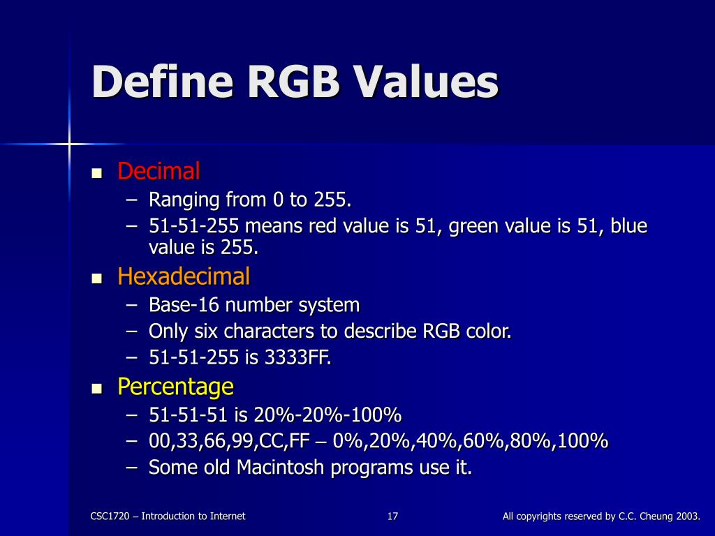 Define RGB Values