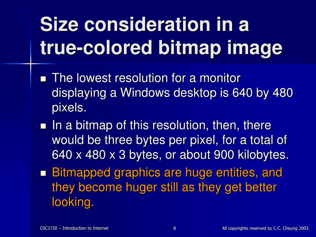 Size consideration in a true-colored bitmap image