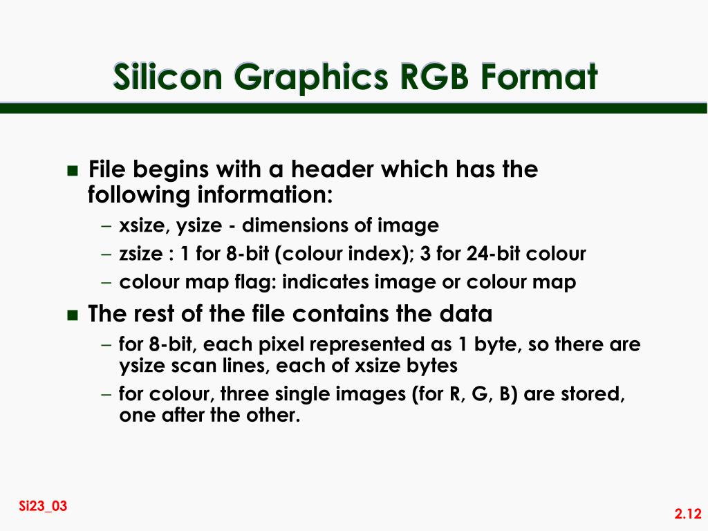 Silicon Graphics RGB Format