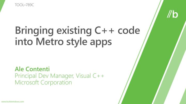 Bringing existing c code into metro style apps