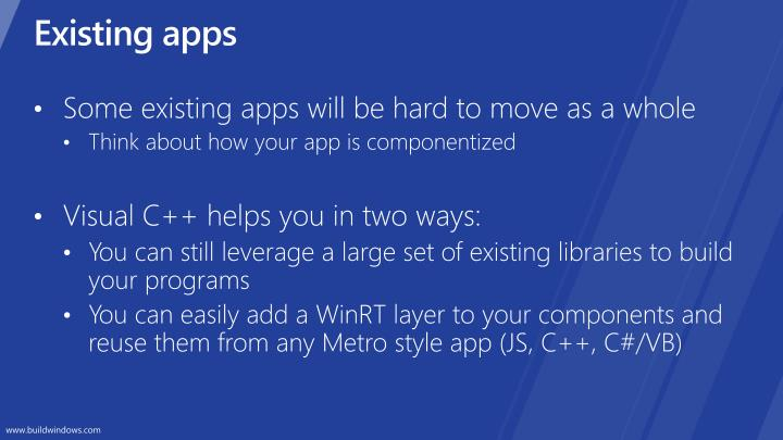 Existing apps