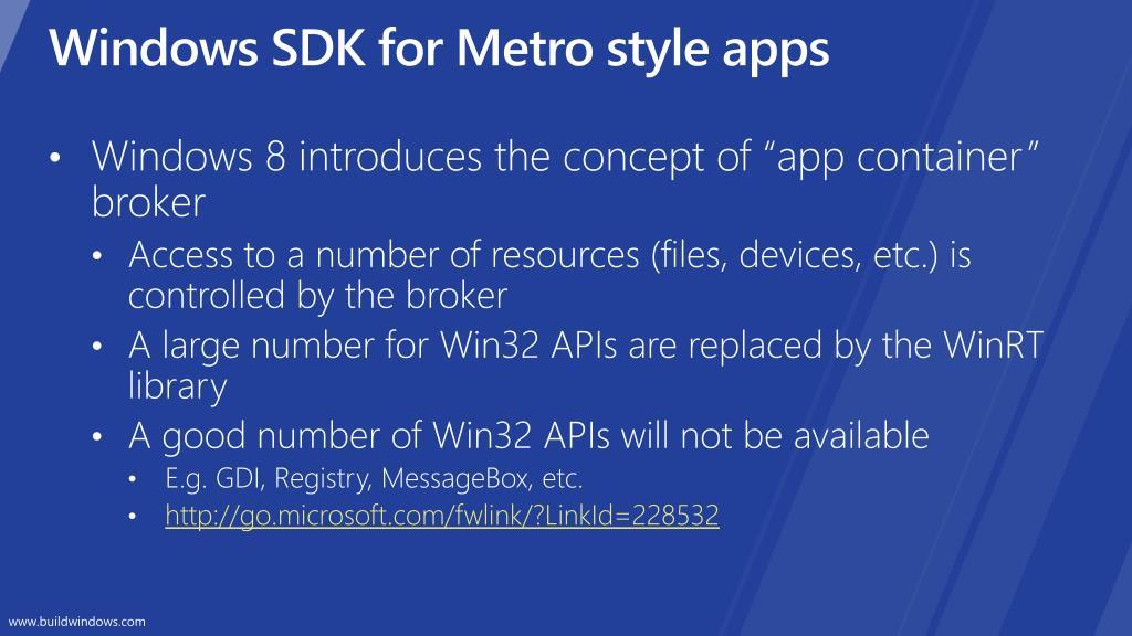Windows SDK for Metro style apps